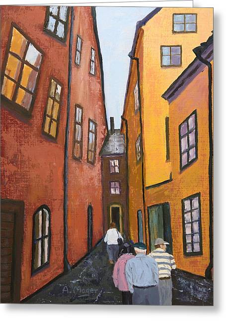 Narrow Passage Greeting Card by Alan Mager