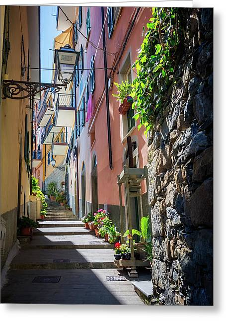 Narrow Street In Cinque Terre Italy Greeting Card