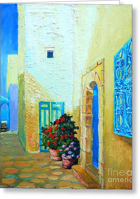 Greeting Card featuring the painting Narrow Street In Hammamet by Ana Maria Edulescu