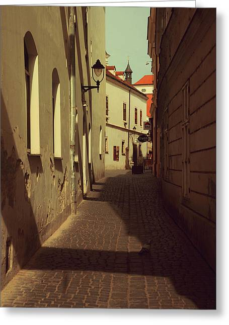 Narrow Street Of Znojmo Greeting Card by Jenny Rainbow