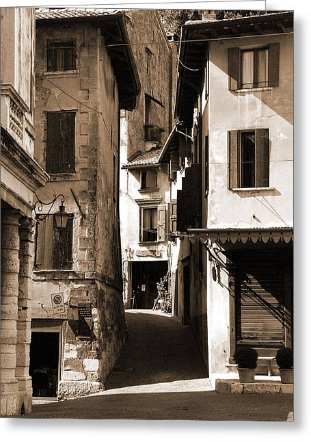 Narrow Streets Of Asolo Greeting Card