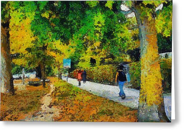 Narrow Walking Path In Greenery Greeting Card by Ashish Agarwal
