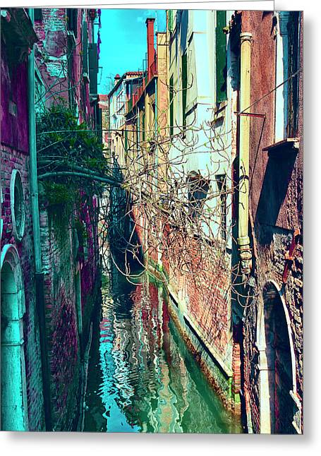 Narrow Water-street Of Medieval Venice Greeting Card