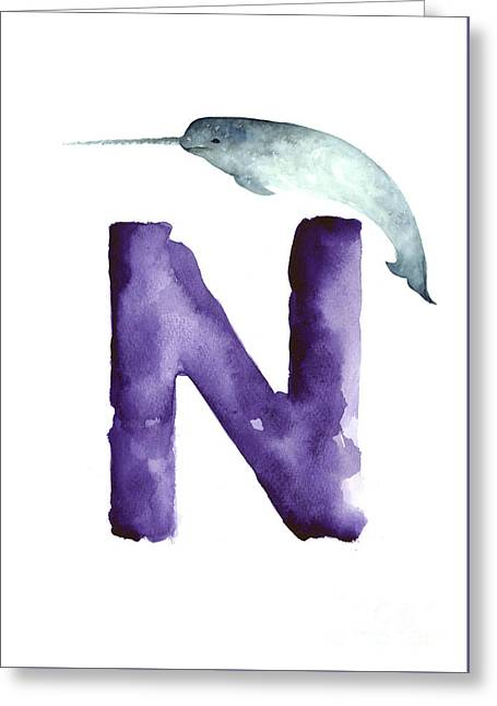 Narwahl Watercolor Alphabet Painting Greeting Card