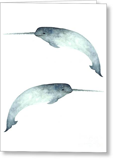 Narwhal Poster Watercolor Art Print Painting Greeting Card by Joanna Szmerdt