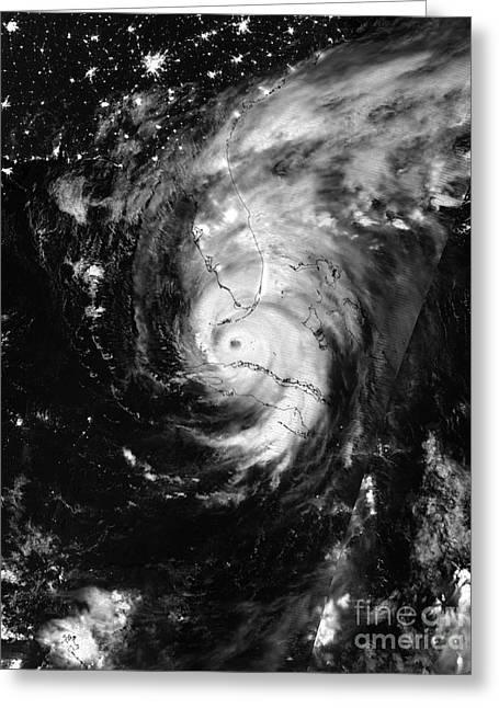 Nasa Hurricane Irma Between Cuba And Florida Satellite Image Greeting Card