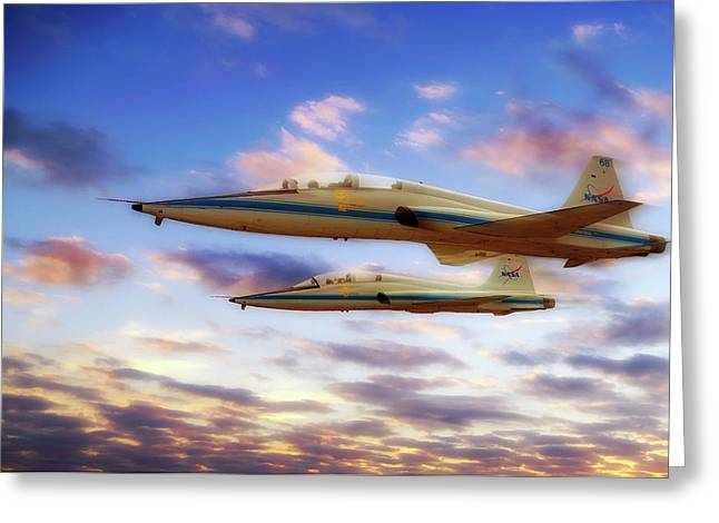 Greeting Card featuring the photograph Nasa T-38 Talons At Sunrise - Pilot - Airplanes by Jason Politte