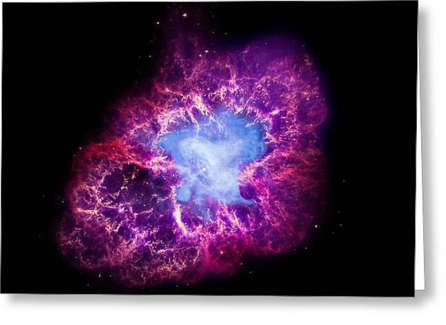 Nasa's Great Observatory View Of The Crab Nebula Greeting Card by Space Art Pictures