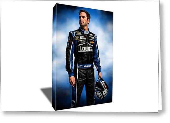 Nascar Driver Jimmie Johnson Canvas Art Greeting Card by Artwrench Dotcom