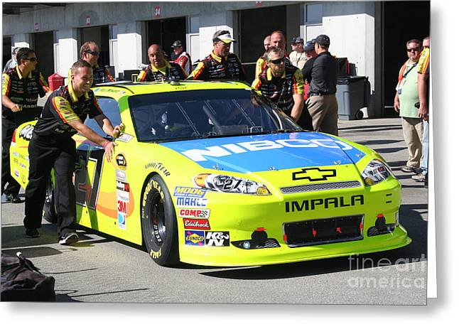 Nascar Inspection 10 Greeting Card by Roger Look