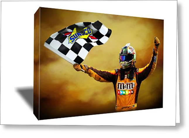 Nascar's Kyle Busch Victory Canvas Art Greeting Card