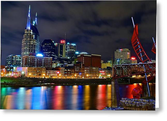 Nashville After Dark Greeting Card by Frozen in Time Fine Art Photography
