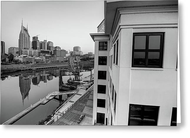 Greeting Card featuring the photograph Nashville Along The River - Black And White by Gregory Ballos