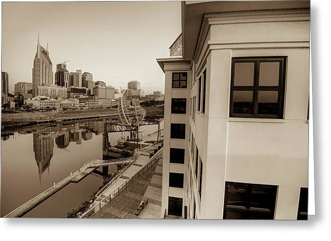 Nashville Along The River - Sepia Edition Greeting Card