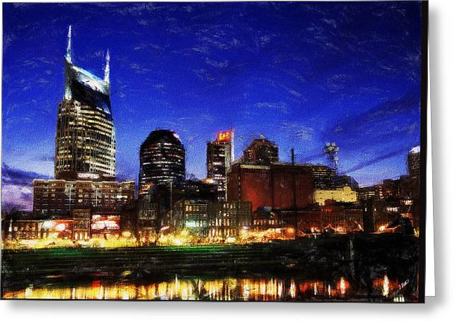 Nashville At Twilight Greeting Card