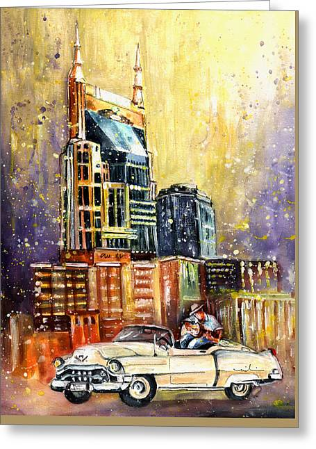 Nashville Authentic Greeting Card by Miki De Goodaboom