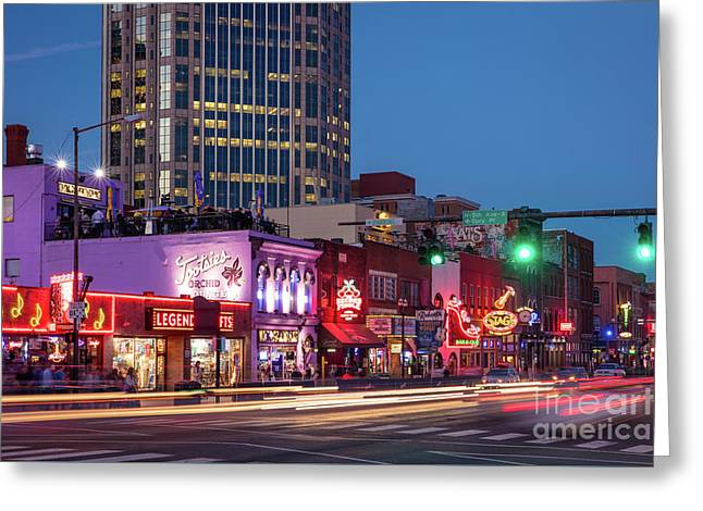 Greeting Card featuring the photograph Nashville - Broadway Street by Brian Jannsen
