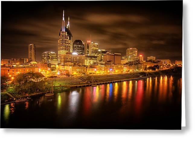 Nashville City Lights Greeting Card by Stuart Deacon