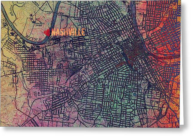 Nashville Heart Map Greeting Card