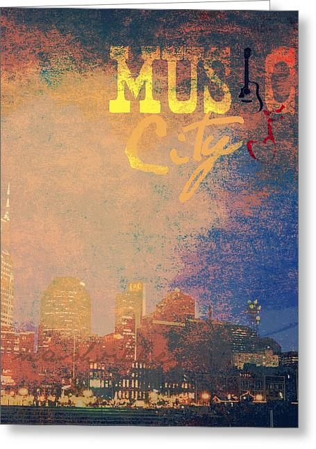 Nashville Music City Greeting Card by Brandi Fitzgerald