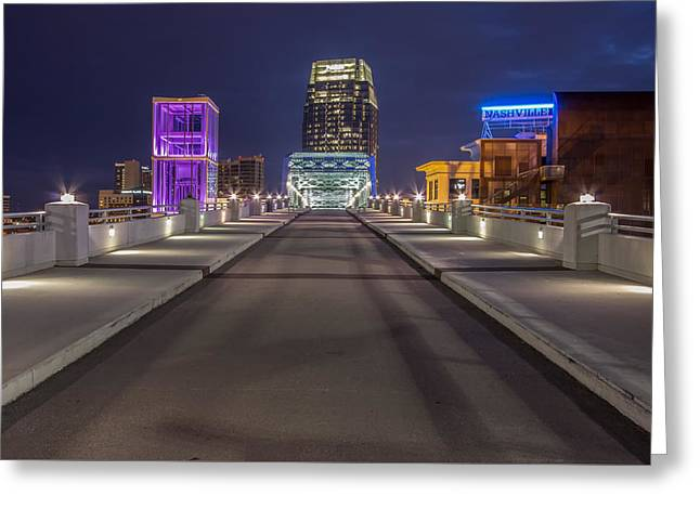 Nashville Shelby Bridge Greeting Card by Mike Burgquist