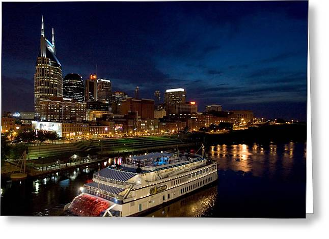 Nashville Skyline And Riverboat Greeting Card by Mark Currier