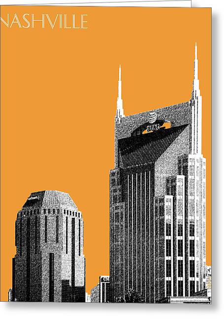 Nashville Skyline At And T Batman Building - Orange Greeting Card