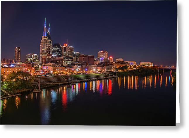 Nashville Skyline At Night Greeting Card