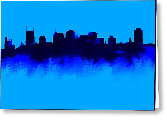Nashville  Skyline Blue  Greeting Card by Enki Art