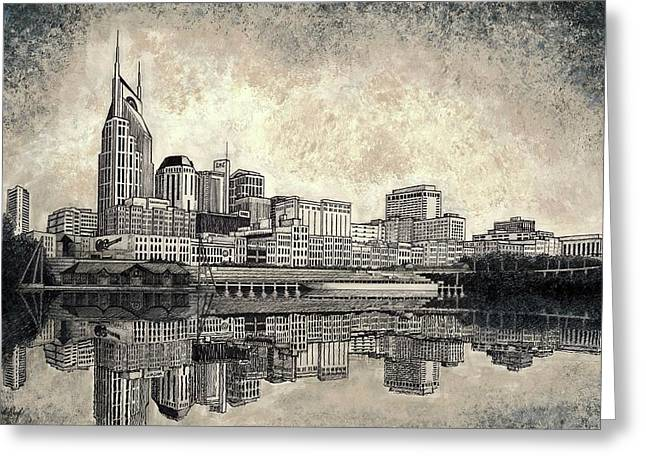 Nashville Skyline II Greeting Card by Janet King