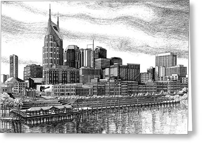 Nashville Skyline Ink Drawing Greeting Card by Janet King