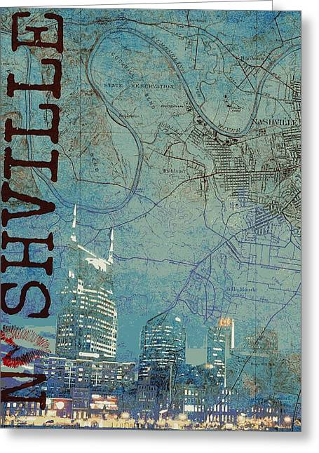 Nashville Skyline Map Greeting Card by Brandi Fitzgerald