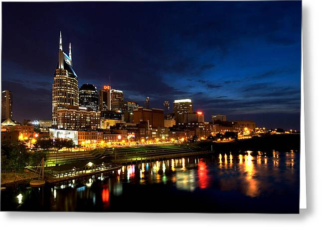 Dark Water Greeting Cards - Nashville Skyline Greeting Card by Mark Currier