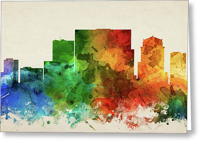 Nashville Skyline Panorama Ustnna-pa03 Greeting Card by Aged Pixel
