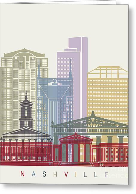 Nashville Skyline Poster Greeting Card by Pablo Romero