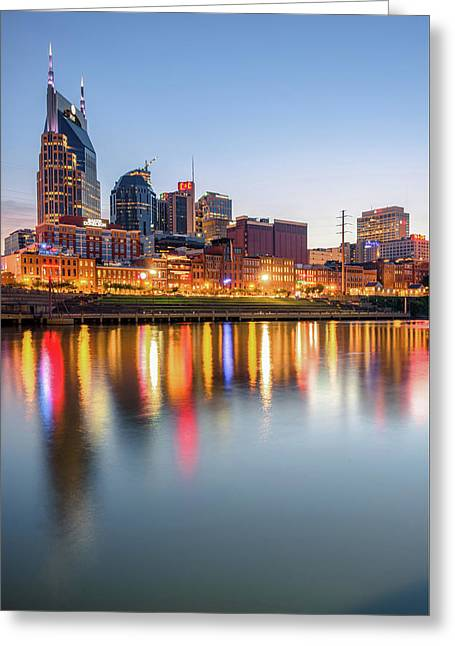 Greeting Card featuring the photograph Nashville Skyline Reflections - Color Edition by Gregory Ballos