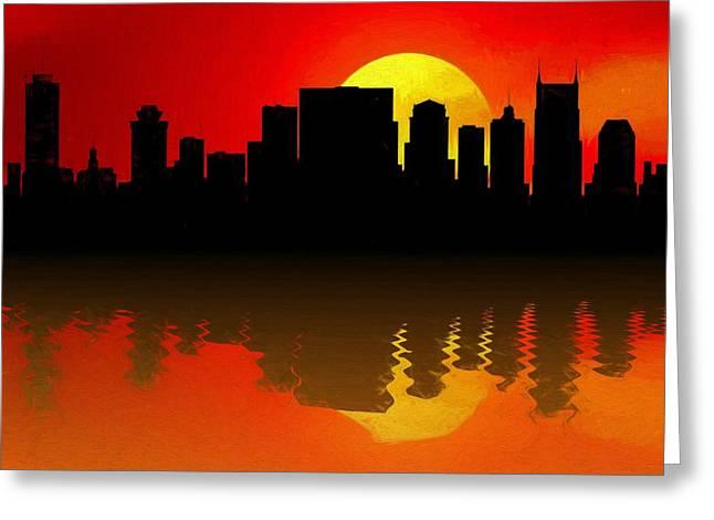 Nashville Skyline Sunset Reflection Greeting Card