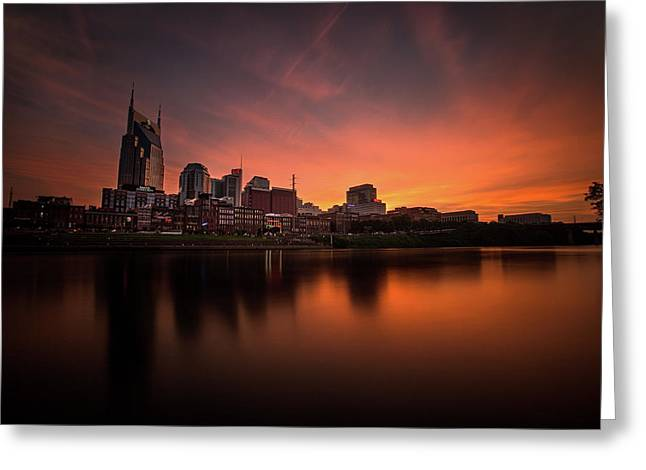 Nashville Sunset Over A Silky Skyline Reflection Greeting Card