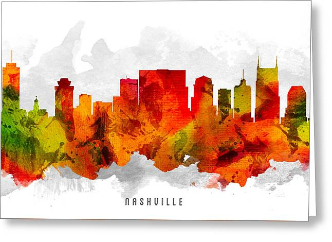 Nashville Tennessee Cityscape 15 Greeting Card by Aged Pixel