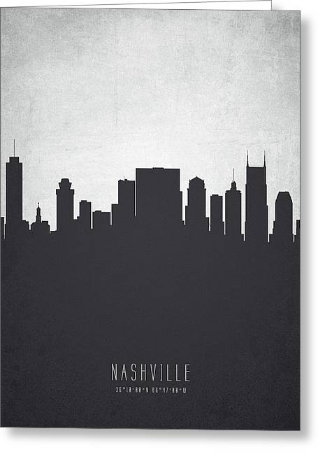 Nashville Tennessee Cityscape 19 Greeting Card by Aged Pixel