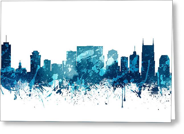 Nashville Tennessee Skyline 19 Greeting Card by Aged Pixel