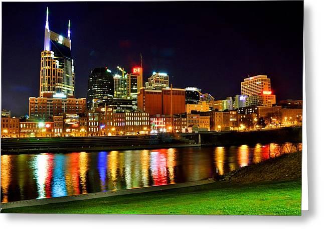 Nashville Tennessee Skyline At Night Greeting Card