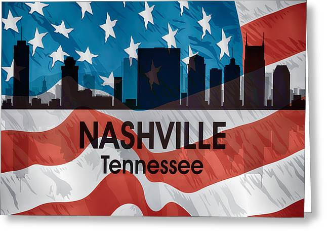 Nashville Tn American Flag Squared Greeting Card by Angelina Vick