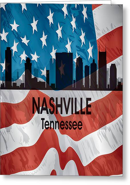 Nashville Tn American Flag Vertical Greeting Card