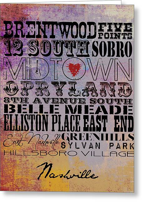 Nashville Tn V1 Greeting Card by Brandi Fitzgerald