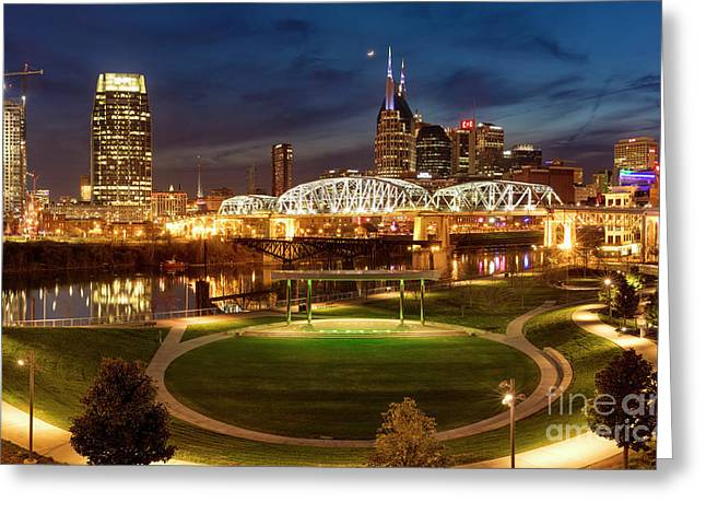 Greeting Card featuring the photograph Nashville Twilight Skyline by Brian Jannsen