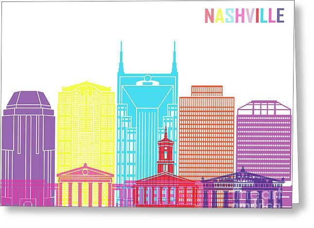 Nashville V2 Skyline Pop Greeting Card by Pablo Romero