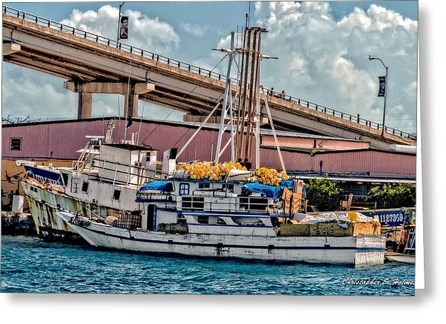 Nassau Fishing Boats Greeting Card by Christopher Holmes