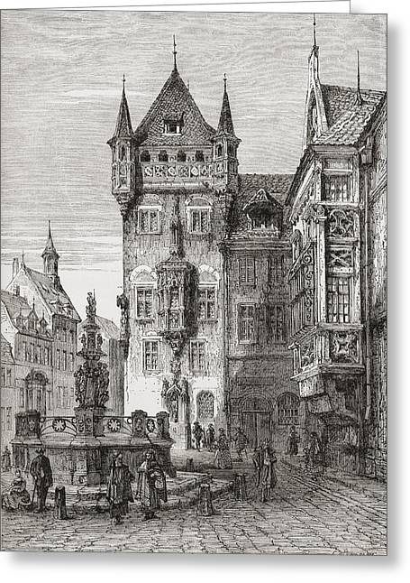 Nassauer Haus, Nuremberg, Bavaria Greeting Card by Vintage Design Pics