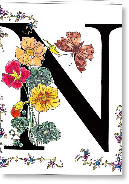 Nasturtium And Nettle-tree Butterfly Greeting Card by Stanza Widen